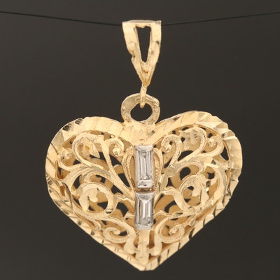 14K Diamond Puff Heart Pendant with Platinum Accents