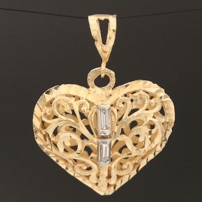 14K Diamond Puff Heart Pendant with Platinum Accents