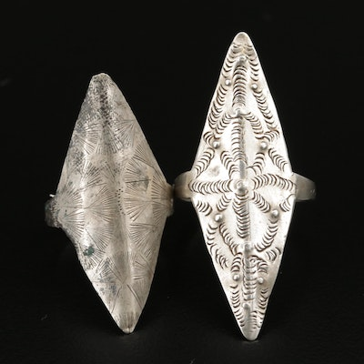Thai Style Sterling and 800 Silver Tribal Rings