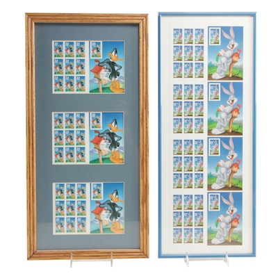 """Bugs Bunny"" and ""Daffy Duck"" United States Framed Postage Stamps, 1990s"