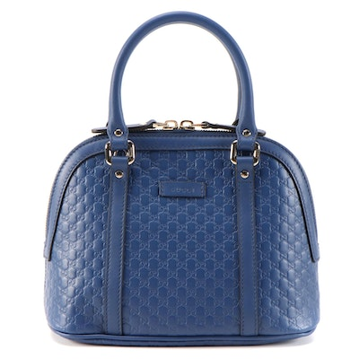 Gucci Convertible Dome Bag in Blue Microguccissima and Smooth Leather