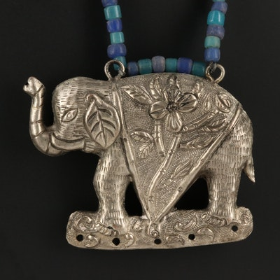 Chinese Chased and Repoussé Elephant on Glass Beaded Necklace
