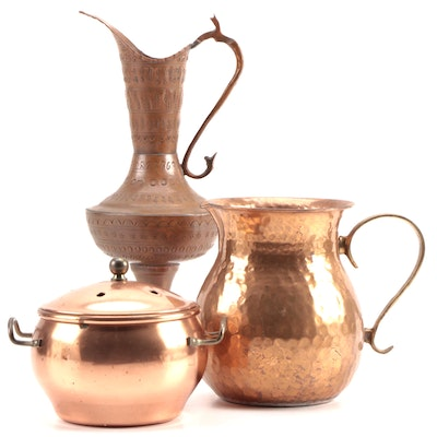 Chased Copper Ewer and Other Copper Vessels