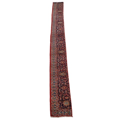 1'6 x 15'0 Hand-Knotted Persian Tabriz Fragment Runner Rug