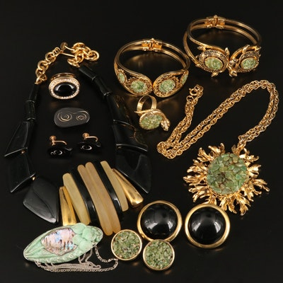 Assorted Jewelry Featuring Parklane with Black Coral, Serpentine and Glass