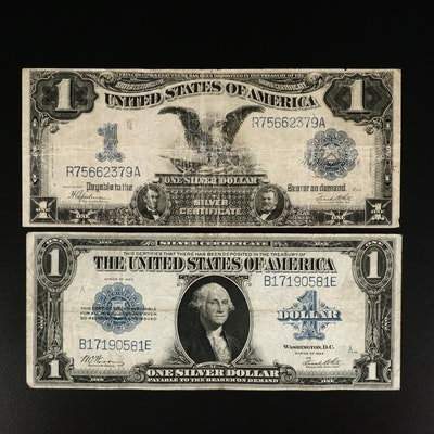 "Two Large Format $1 U.S. Silver Certificates, Including ""Black Eagle"" $1 Note"