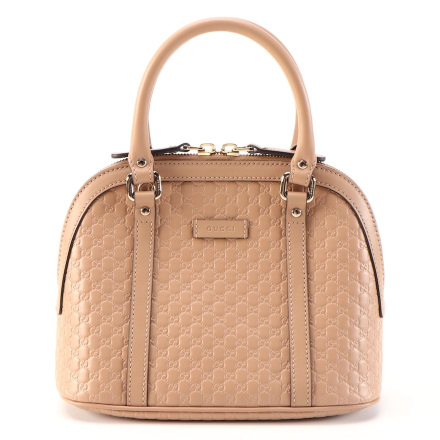 Gucci Convertible Dome Bag in Beige Microguccissima and Smooth Leather