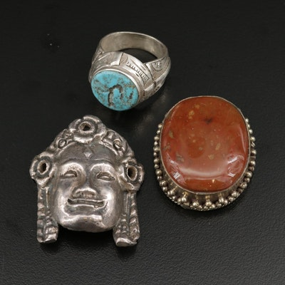 Sterling Silver Turquoise Ring, Bezel Set Jasper and Figural Pendant