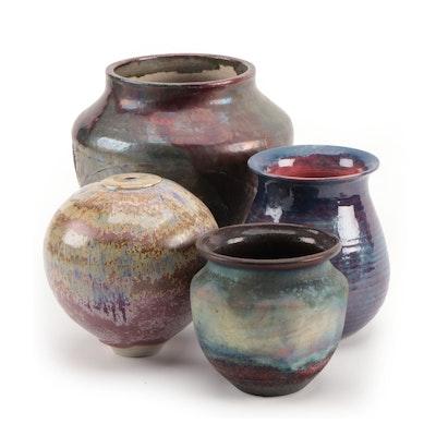 Wheel Thrown Raku and Other Art Pottery Vases