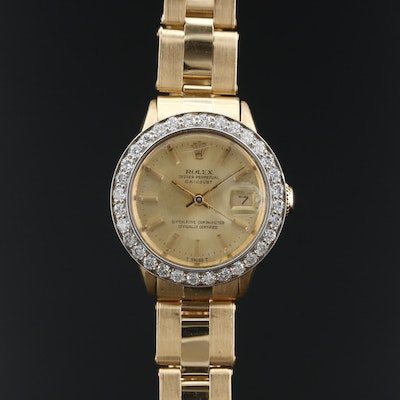 1968 Rolex Oyster Perpetual Datejust 18K and 1.20 CTW Diamond Wristwatch