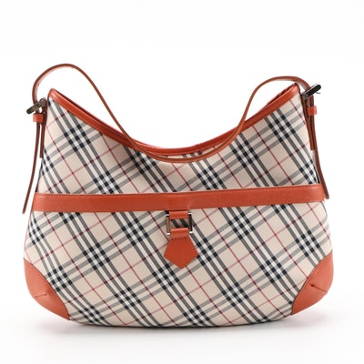 "Burberry ""House Check"" Canvas and Saffiano Leather Trimmed Shoulder Bag"