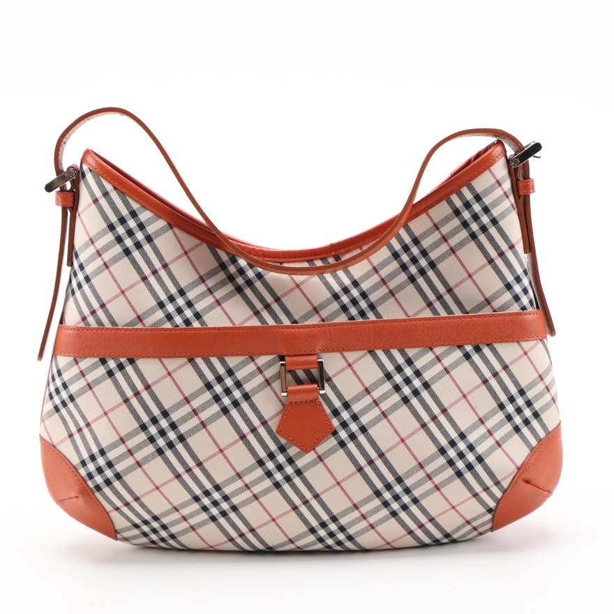 """Burberry """"House Check"""" Canvas and Saffiano Leather Trimmed Shoulder Bag"""