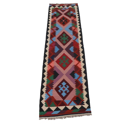 2'9 x 10'1 Hand-Knotted Turkish Kilim Runner Rug, Late 20th Century