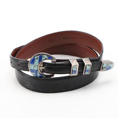 Alexander's Sterling Silver, Turquoise and Lapis Lazuli Black Lizard Skin Belt