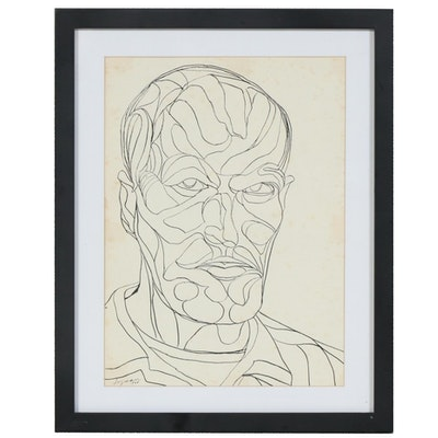 Frederick Lyman Jr. Portrait of Man Pen and Ink Drawing, 1966