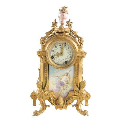 North Haven Clock Co. Gilt and Reverse Painted Shelf Clock, Late 19th C.