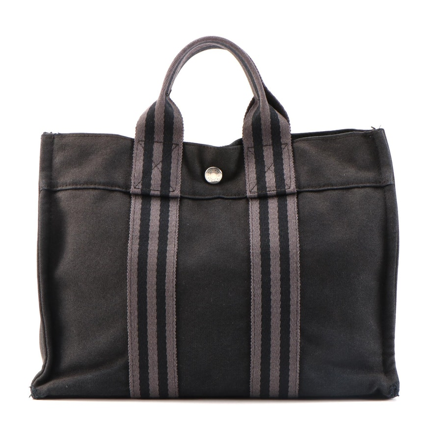 Hermès Fourre Tout PM Tote Bag in Black/Gray Canvas
