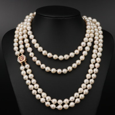 14K Pearl, Ruby and Diamond Convertible Necklace