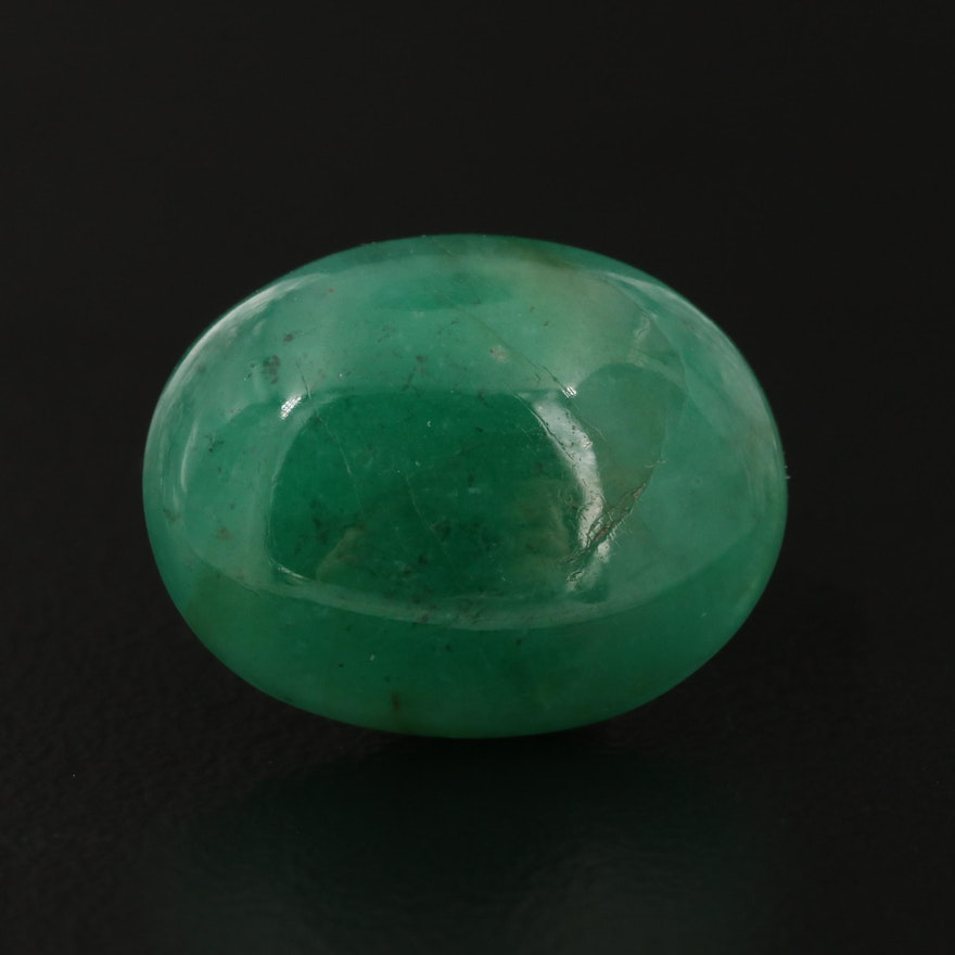 Loose 7.78 CT Oval Cabochon Emerald