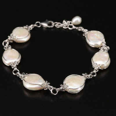 Sterling Silver Cultured Pearl Bracelet Featuring Wire Work Design