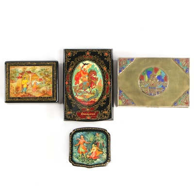 Soviet Kholoy and Mstyora Lacquer Trinket Boxes and Enameled Brass Cigarette Box