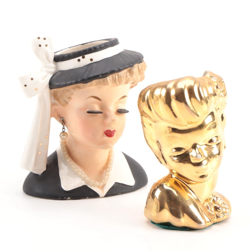 """""""Lucille Ball"""" and a Gold Toned Head Vases"""