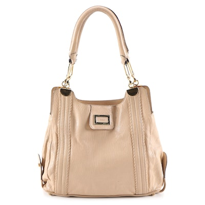 Chloé Grained Leather Shoulder Bag in Blush Beige