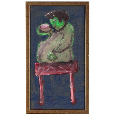Folk Art Oil Painting of a Green Figure
