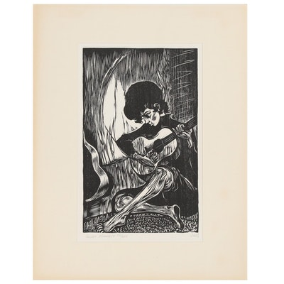 "Mervin Jules Wood Block Print ""Quiet Moment,"" 20th Century"