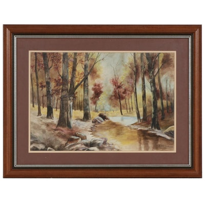 Fall Landscape Watercolor Painting