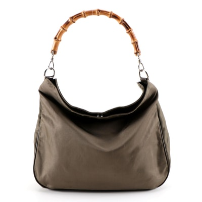 Gucci Bamboo Olive Brown Nylon Hobo Tote Bag