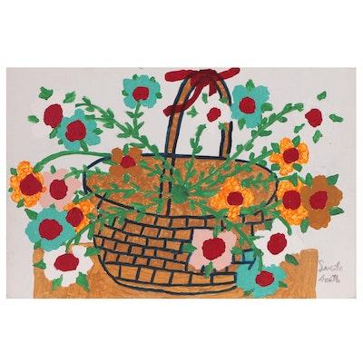Lucile Smith Folk Art Floral Still Life Acrylic Painting
