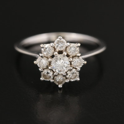18K Diamond Cluster Ring