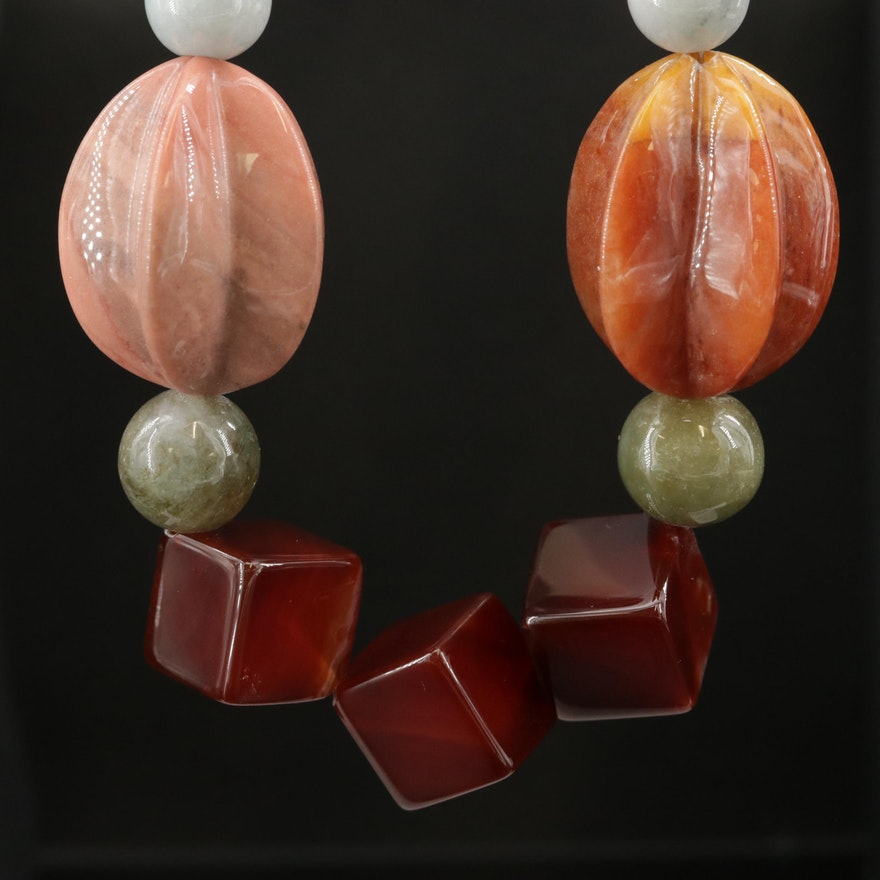 Beaded Agate, Jadeite, and Rhodonite Necklace With Sterling Silver Clasp