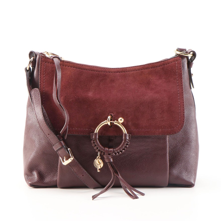 See by Chloé Joan Shoulder Bag in Burgundy Pebbled Leather and Suede