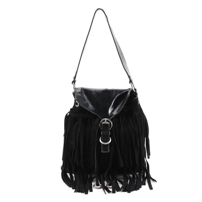 Yves Saint Laurent Black Suede Fringe and Crinkle Patent Leather Shoulder Bag