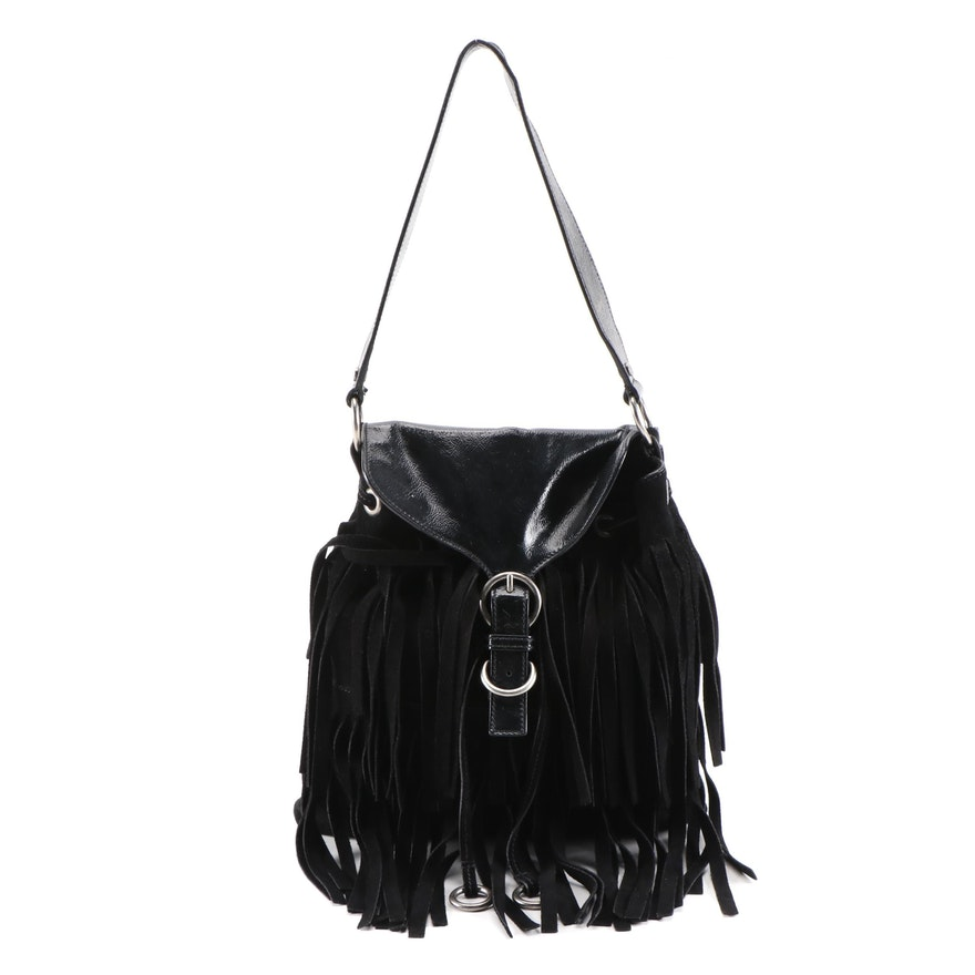 Yves Saint Laurent Black Suede Fringe and Crinkle Patent Leather Shoulder Bag