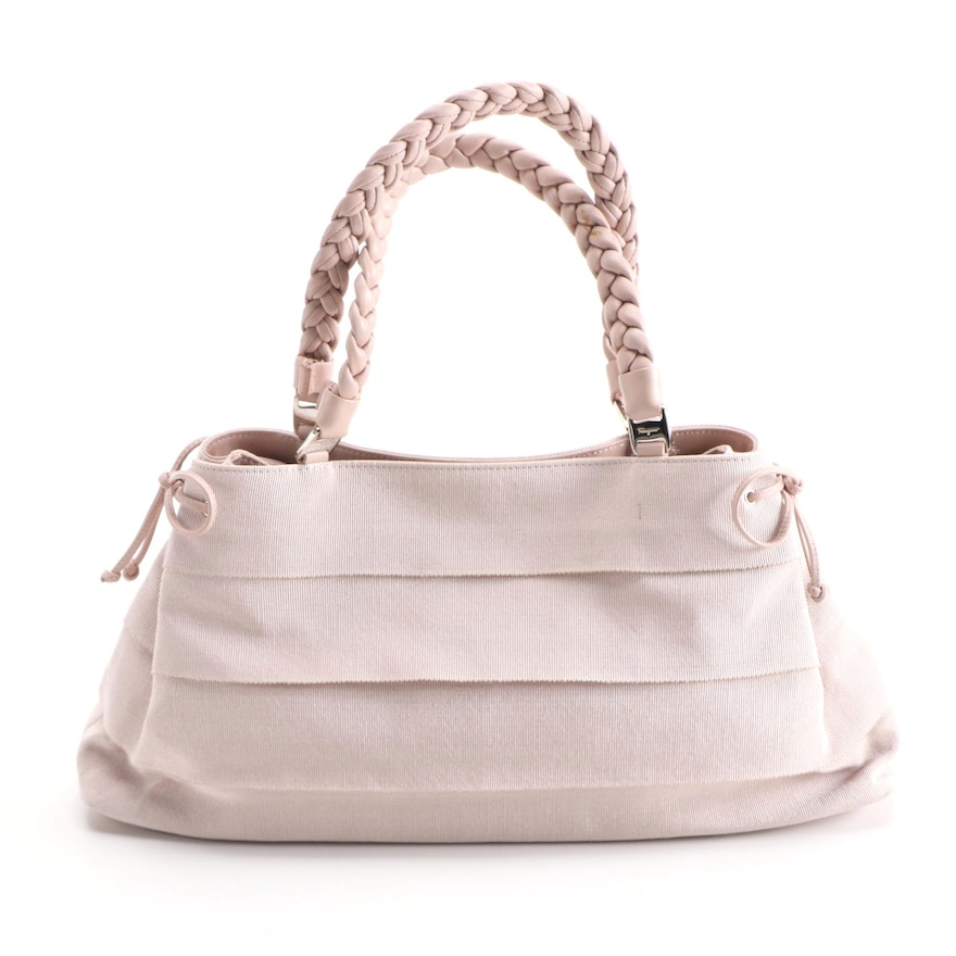 Salvatore Ferragamo Light Pink Grosgrain and Braided Leather Top Handle Bag