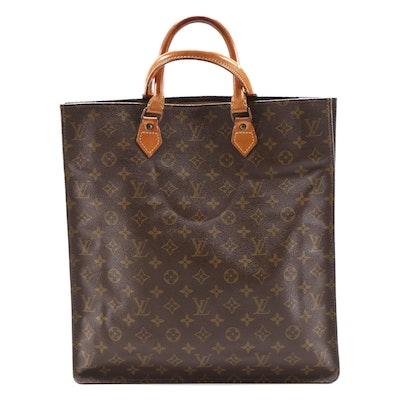 Louis Vuitton Sac Plat GM Bag in Monogram Canvas and Vachetta Leather
