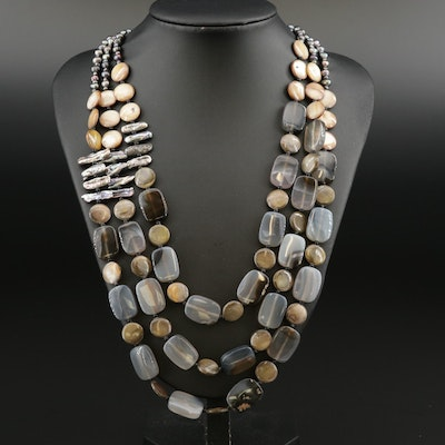 Agate, Shell, and Cultured Pearl Necklace with Sterling Silver Clasp
