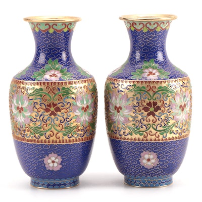 Chinese Cloisonné Enamel Vases with Lotus Flower Motif, Mid to Late 20th Century
