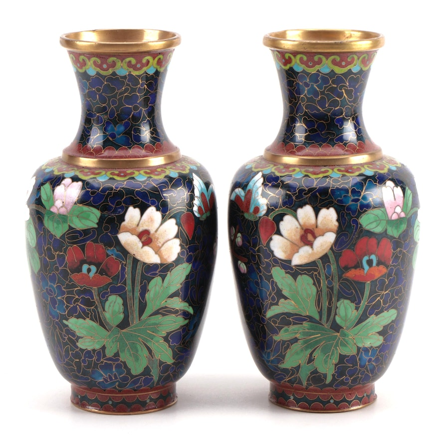 Pair of Chinese Cloisonné Vases with Floral Motif, Mid to Late 20th Century