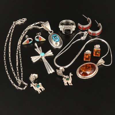 Assorted Jewelry with 950 and Sterling Including Cross, Llamas and more