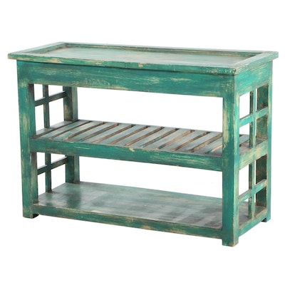 Primitive Style Green Painted Table with Hinged Top