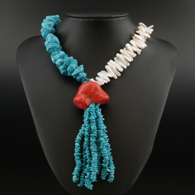 Sterling Silver Coral, Pearl and Faux Turquoise Necklace