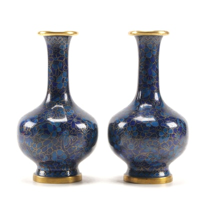 Pair of Chinese Cloisonné Blue Enamel Vases in Peony and Blossom Floral Motif