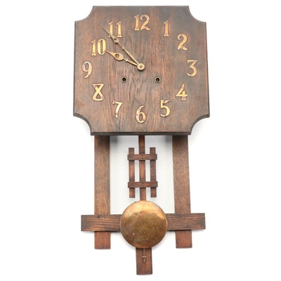Arts and Crafts Mission Oak Wall Clock, Early 20th Century