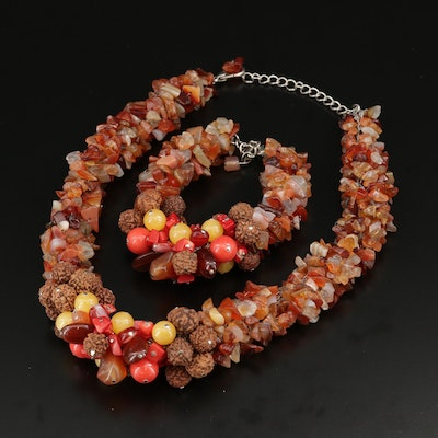 Agate, Quartzite, Coral Necklace and Bracelet Set Featuring Rudraksha Seed