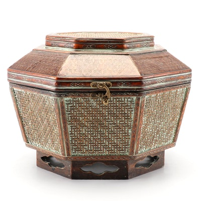 Chinese Rattan and Stamped Metal Octagonal Storage Basket