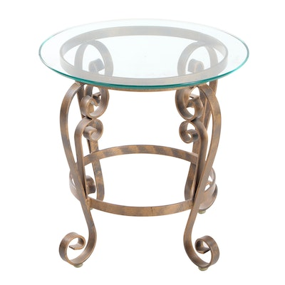 Wrought Metal and Glass End Table